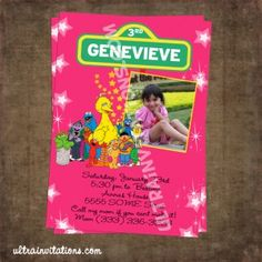 Pink Sesame Street Invitations with a picture of your child, custom made with your wording. Elmo Birthday Invitations, Photo Invitations, Pink Invitations, Invites, Sesame Street Party, Sesame Street Birthday, Sesame Street Invitations, Call My Mom, Street Photo