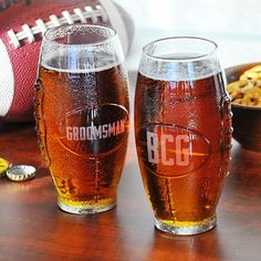 Gift Idea: Personalized Glass Football Shaped Tumbler - 23 oz
