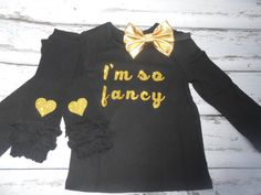 I'm so fancy Gold Glitter long sleeve big gold bow headband leg warmers set  Outfit, Baby Girl Clothes, Baby Toddler Outfit