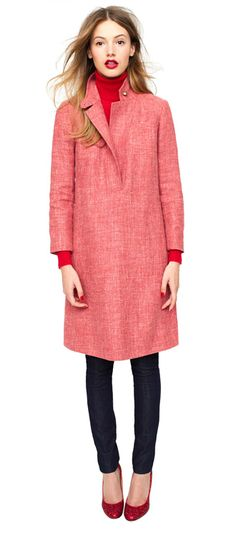 j.crew carriage coat-dress, dream turtleneck sweater, leggy denim jean, mona glitter pumps.