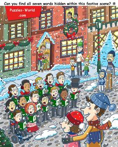 find all seven words hidden within this festive scene Hidden Words In Pictures, Hidden Picture Puzzles, Word Pictures, Language Activities, Fun Activities, Find The Hidden Objects, Interesting English Words, Puzzle Art, Puzzle Games
