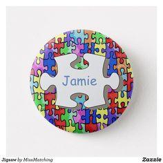 Jigsaw Piece Kids Name Button