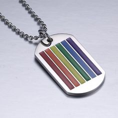 Unisex Rainbow Tag Pendant Necklace Stainless Steel Choker Gay and Lesbian Pride Jewelry Parade Demonstration Lgbt, Pride Bracelet, Blue Drop Earrings, Pride Outfit, Rainbow Outfit, Color Tag, Lesbian Pride, Rainbow Pride, Metal Necklaces