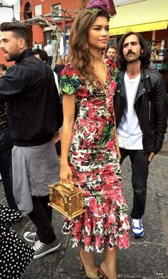 Zendaya showed off one of her looks while on location in Capri for the Dolce & Gabbana Millennials campaign.