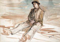 Mednyánszky László (1852-1919) Ülő csavargó, Hátoldalon: Ceruzatanulmány Statue, Painters, Art, Kunst, Sculpture, Art Education, Artworks