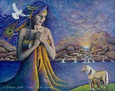 "Mother Earth Goddess with Unicorns ""Serenity"" by Theresa Stahl ~Owl's Flight Original Artwork www.owlsflight.com"