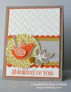 Betsy's Blossom - Stampin' Up! -- Great color combo - Summer Starfrit, Crumb Cake, Pumpkin Pie, and Sahara Sand