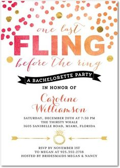 One Last Fling - Signature White Bachelorette Party Invitations - East Six Design - Blaze - Orange : Front