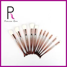 Princess Rose 11pcs Gold Ombre Mermaid Tail Makeup Brushes Set Professional Make Up Brush Pincel Maquiagem Brochas Maquillaje