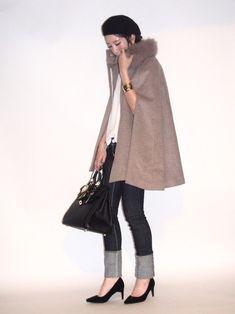 ルイルエブティック様よりケープコートをご提供頂きました! ウール素材でとても暖かく、綺麗なラインが出