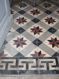 This is Our Rare Collection of Ancient Encaustic Cement Tiles by Ancient Surfaces Stone Mosaic, Mosaic Tiles, Wall Tiles, Modern Flooring, Spanish Flooring, Encaustic Tile, Painted Floors, Floor Design, Tile Patterns