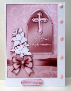 5 x 7 Confirmation metallic Greeting with 3d Decoupage on Craftsuprint designed by Carol Clarke - made by Audrey  Clifford - i printed the image sheet onto photo paper and layered the main image onto a white card base then i added the decoupaged elements i used one of the blank tags in my graphics program to add text and to complete the card i added pink card candy down one side of the base card  - Now available for download!