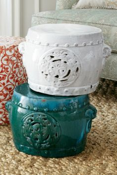 Meiyi Garden Stool from Soft Surroundings Rustic French Country, French Country Furniture, Ceramic Stool, Outdoor Stools, Luxury Bedding Collections, Wooden Stools, Chinese Ceramics, Soft Surroundings, Unique Furniture