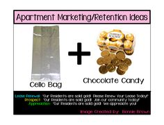 Apartment Marketing/Retention Ideas.  I am going to start making these, so the ideas are laid out a little bit better!  What do you think of these first 2?  ~ Layout Designed by Bonnie Rose.