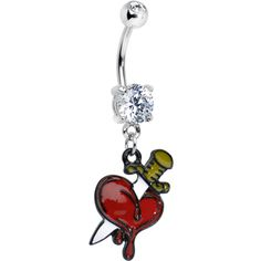 Double Clear Gem Knife through the Heart Dangle Belly Ring #bodycandy