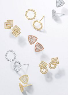 Play up your style with a unique twist on the classic stud! #diamond #studs #danarebecca