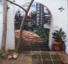 "Secret Garden"" trompe doorway painted on wall with trompe potted bird of paradise"