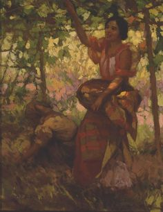 """Fernando Amorsolo y Cueto, Filipino painter, was an important influence on contemporary Filipino art and artists, even beyond the so-called """"Amorsolo school"""". Subjects: Philippine Genre, historical and society Portraits. Filipino Art, Filipino Culture, Pictures To Paint, Art Pictures, Art Pics, Munier, Philippine Art, Famous Artwork, Historical Art"""