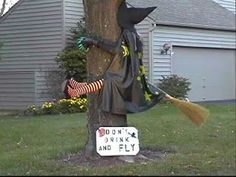 "funny pictures: funny halloween.  I have a neat plush witch's costume that has legs & arms partially stuffed.  I want to attach it to our basketball pole this Halloween & use the sign they used:  ""Don't drink & fly"".  he he."