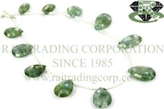 Moss Aquamarine Faceted Pear (Quality A) Shape: Pear Faceted Length: 18 cm Weight Approx: 7 to 9 Grms. Size Approx: 7x10 to 9x14 mm Price $19.20 Each Strand