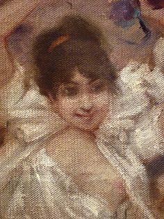 WILLETTE Adolphe,1884 - Parce Domine - Detail 128 : Français : Jeune femme en fête  English: - Young woman enjoying the feast - Montmartre -