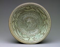 Period: Joseon dynasty (1392–1910) Date: first half of 15th century Culture: Korea Medium: Buncheong ware with inlaid and stamped decoration of peony leaves and chrysanthemums KOREAN ANTIQUES AND ART : More At FOSTERGINGER @ Pinterest