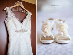 © Anna Lee Media | Oklahoma Wedding Photographer, wedding dress, fabric flower shoes, personalized bride hanger