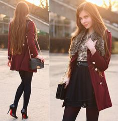 Persunmall Black Elegant Pumps, Romwe Burgundy Coat, Romwe Black Quilted Bag With Gold Chain, Chicwish Black Skirt