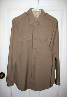 """Vintage 1950s USAF Khaki Long Sleeve Military Dress Shirt by Creighton Medium 15"""" Neck Only 14 USD by SusOriginals on Etsy"""