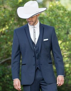 Classic Western Cowboy Tuxedo in Grey. All you need is to put on a hat, and throw on your bolo tie and you'll be good to go! Pants come 6 inches smaller than jacket, and can adjust 2 inches out or 4 inches in. #PromTuxedo #Tuxedo #NavyTuxedo #WeddingTuxedo #PromTux #WeddingTux #Tux #Wedding #Prom