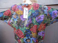 blouse top 90s roses gold paint 90s sleeves 90s style amazing art shirt FESTIVAL #zashivintage #Blouse #EveningOccasion