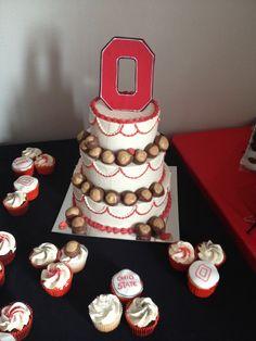 Ohio State Graduation cake with Buckeyes!