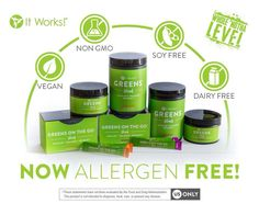 It Works greens are now even better! Allergen free, dairy free, non-gmo, soy free, and vegan. Plus the fruits and veggies and the fiber. Also with matcha green tea! Get yours today. Text or comment below. It Works Global, My It Works, Superfoods, It Works Greens, It Works Distributor, It Works Products, Free Products, Health Products, 90 Day Challenge