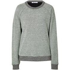 T by Alexander Wang Cotton Waffle Knit Sweatshirt ($100) ❤ liked on Polyvore featuring tops, hoodies, sweatshirts, sweaters, shirts, grey, cut loose long sleeve shirt, long-sleeve shirt, raglan sweatshirt and grey shirt