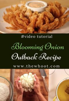 Famous Outback Steakhouse Blooming Onion Recipe is part of food_drink - Learn how to make a Blooming Onion with this Outback Steakhouse Copycat Recipe It's easy and delicious and we have a video tutorial to show you how Best Dessert Recipe Ever, Best Dinner Recipes Ever, Best Soup Recipes, Best Food Ever, Copykat Recipes, Baked Blooming Onion, Blooming Onion Recipes, Grilled Blooming Onion Recipe, Outback Blooming Onion Sauce