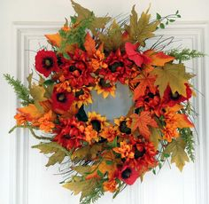 "24"""" Autumn Sunflower Fern Wreath"