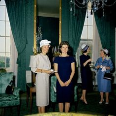 5/8/61 Louise Brewer Shepard and Jacqueline Kennedy at the reception following the presentation of the NASA Distinguished Service Medal to astronaut Commander Alan B. Shepard (the first American in space). Green Room, White House.