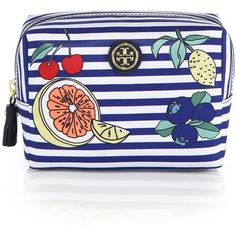 Tory Burch Brigitte Striped Fruit-Print Nylon Cosmetic Case (105 CAD) ❤ liked on Polyvore featuring beauty products, beauty accessories, bags & cases, bags, make up bag, apparel & accessories, blue stripe, tory burch, travel bag and dop kit