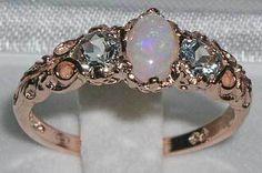 opal & aquamarine ring