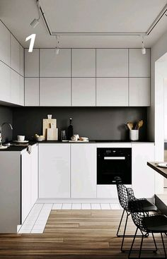 Best 7 Awesome Minimalist Kitchen Sets That Make the Kitchen More Beautiful Maybe there is no other room that is most important for housewives compared to favorite kitchens. It doesn't hurt if you pay more attention to kitchen. Kitchen Design Small, Kitchen Furniture, Small Kitchen, Kitchen Decor, Minimalist Small Kitchens, Home Kitchens, Minimalist Kitchen, Kitchen Sets, Kitchen Design
