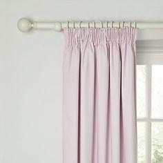 Buy little home at John Lewis Paris Plain Pencil Pleat Blackout Lined Curtains, Pink Online at johnlewis.com