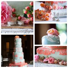 Wedding Cake with Lace + Fresh Flowers + Gorgeous Rings / Robert Posar Photography / The Dominion House / New Leaf Florist / Rosebeary Designs