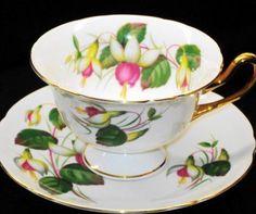 Shelley Gains Fuchsia Tea Cup and Saucer Teacup   eBay