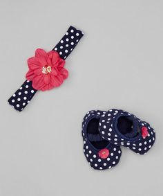 Another great find on #zulily! Navy & White Polka Dot Flower Headband & Booties by Lovespun #zulilyfinds
