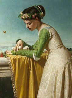 Raffaello Sorbi - An Italian girl with doves, 1866