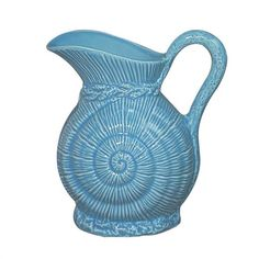 Fitz and Floyd Coastal Shell Creamer, Dark Aqua ($10) ❤ liked on Polyvore featuring home, kitchen & dining, serveware, porcelain creamer and porcelain serveware