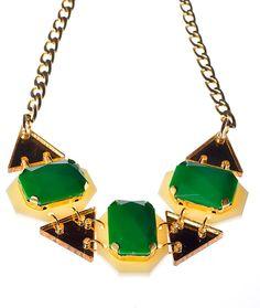 Emerald Green Drops Statement NecklacePlexiglass by bugga on Etsy, $45.00