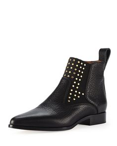 Studded Leather Chelsea Boot Black by Chloe at Bergdorf Goodman. Moto Boots, Suede Boots, Leather Boots, Bootie Boots, Black Chelsea Boots, Leather Chelsea Boots, Studded Leather, Black Leather, Doc Martens Boots