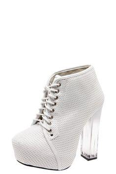 Rhianna White Mesh Perspex Heel Boots