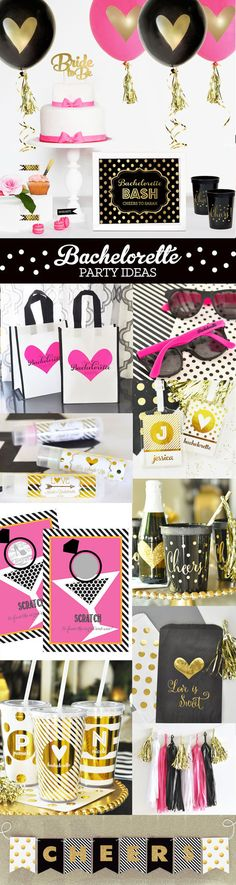 Bachelorette Party Ideas and Decorations for a Black and Gold Bachelorette Party by Mod Party